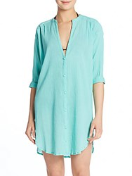 Elizabeth Hurley Cheesecloth Button Front Coverup Aqua