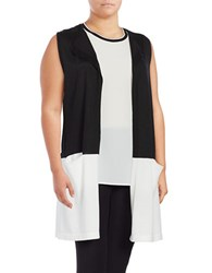 Vince Camuto Plus Colorblocked Sleeveless Duster Vest Rich Black