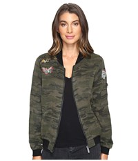 Sanctuary Butterfly Bomber Jacket Mother Nature Camo Women's Coat Green
