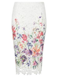Damsel In A Dress Botanical Pencil Skirt Cream