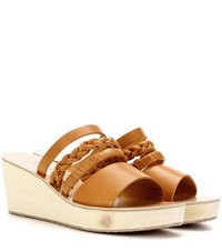 Ancient Greek Sandals Helene Leather Wedge Sandals Brown