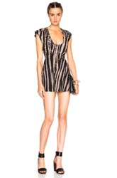 Roberto Cavalli Denim Printed Mini Dress In Black Neutrals Abstract Animal Print