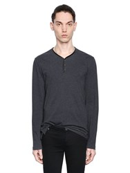 The Kooples Cotton Jersey T Shirt W Nappa Leather