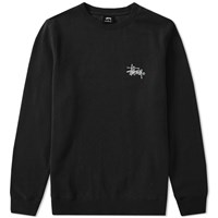 Stussy Basic Logo Applique Crew Sweat Black