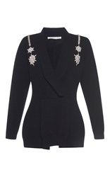Francesco Scognamiglio Jeweled V Neck Knit Top Black