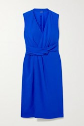 Adam By Adam Lippes Draped Wrap Effect Crepe Dress Royal Blue