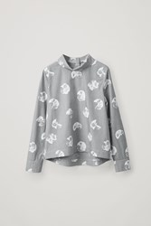 Cos Printed Shirt With Back To Front Collar Blue
