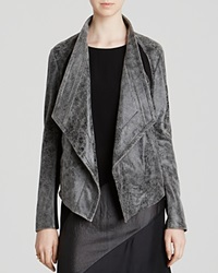 Dkny Distressed Drape Front Leather Jacket Black White Black
