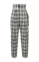 Antonio Marras High Waist Pleated Plaid Pants Grey White