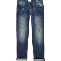 Only And Sons River Island Dark Blue Skinny Fit Jeans