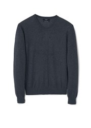 Mango Ten Cotton Cashmere Blend Sweater Dark Grey