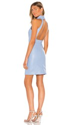 Kendall Kylie Ruching Neck Backless Dress In Baby Blue. Gaga Blue