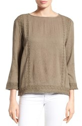 Caslonr Petite Women's Caslon Embroidered Crinkle Cotton Blend Top Olive Brown