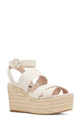 Nine West Kushals Espadrille Platform Wedge Sandal Off White Leather
