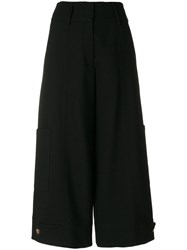 See By Chloe Cropped Culotte Trousers Cotton Polyester Spandex Elastane Virgin Wool Black