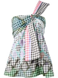 Peter Pilotto One Shoulder Gingham Top