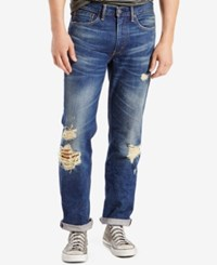 Levi's Men's 514 Straight Fit Ripped Jeans Wheater Destructed