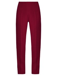 Emilia Wickstead Arabella Wool Crepe Slim Leg Trousers Burgundy