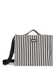 Marni Voile Striped Canvas Shopper White