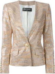 Balmain Studded Blazer Nude And Neutrals