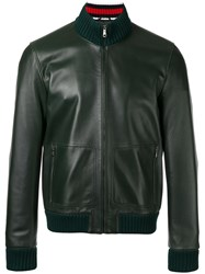 Gucci Leather Bomber Jacket Green