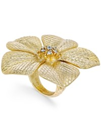 Charter Club Gold Tone Large Crystal Flower Statement Ring Only At Macy's