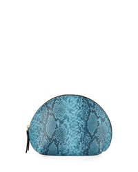 Neiman Marcus Snake Embossed Large Dome Cosmetic Bag Bright Blue