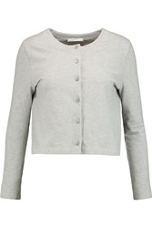 Carven Cotton Pique Cardigan Gray