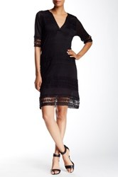 Cullen Crochet Trim Linen Tunic Dress Black