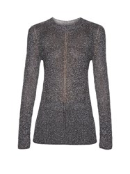 Christopher Kane Long Sleeved Lurex Knit Sweater Silver
