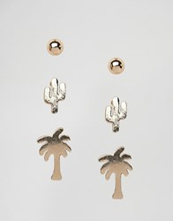 Ny Lon Nylon Pack Of 3 Palm Cactus And Round Stud Earrings Gold