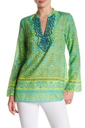 Hale Bob Long Sleeve Embellished Print Tunic Blue