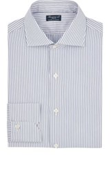 Finamore Men's Fine Striped Poplin Shirt Navy