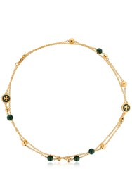 Tory Burch Logo Double Necklace Malachite Gold