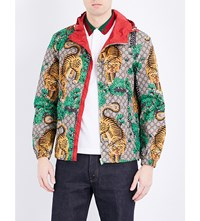 Gucci Tiger Print Shell Jacket Crop Yard Prt Flame