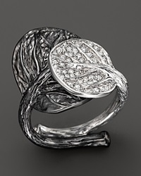 Michael Aram Rhodium Plated Sterling Silver Double Leaf Ring With Diamonds