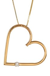 Candela 14K Yellow Gold Diamond Accent Open Heart Necklace 0.05 Ctw No Color