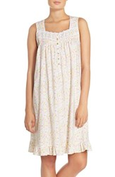 Eileen West Women's Print Cotton Nightgown White Ground With Floral Multi