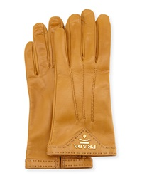 Prada Napa Leather Gloves Camel