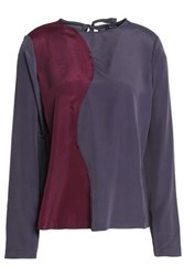 Raoul Two Tone Satin Blouse Burgundy