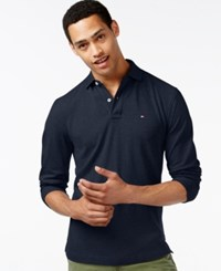 Tommy Hilfiger Men's Big And Tall Long Sleeve Polo Navy Blazer Heather