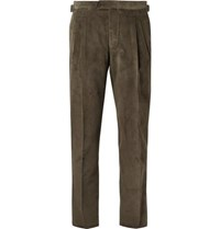 Thom Sweeney Army Green Slim Fit Cotton Corduroy Suit Trousers Green