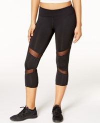 Ideology Mesh Trim Cropped Leggings Only At Macy's Noir