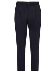 Altea Lincoln Relaxed Leg Wool Blend Trousers Navy
