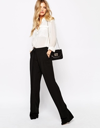 Mango Pleated Waist Detail Wide Leg Trouser Black