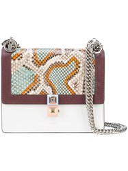 Fendi Mini Kan I Python Bag Women Calf Leather Python Skin Suede One Size White