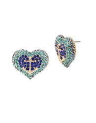 Betsey Johnson Anchors Away Anchor Pave Heart Stud Earrings Blue