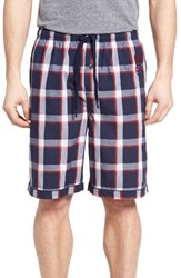 Psycho Bunny Men's Cotton Lounge Shorts Nautical Plaid