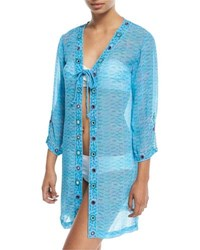 Letarte Long Sleeve Printed Tie Front Georgette Coverup Blue