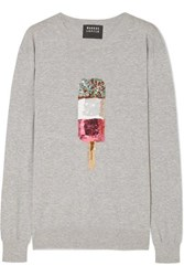 Markus Lupfer Natalie Sequinned Cotton Sweater Gray